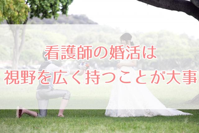 広い公園でプロポーズする新郎